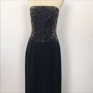 Bob Mackie Strapless Full Length Embellished Gown